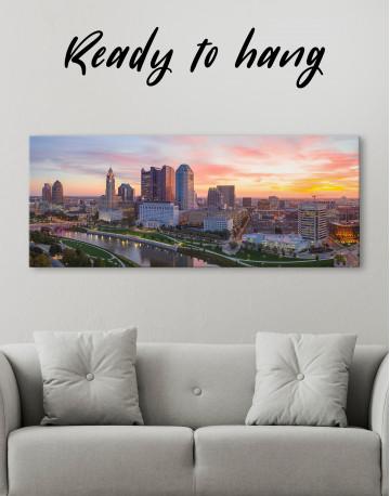 Panoramic Columbus Skyline Canvas Wall Art