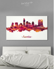 Purple Panoramic Austin Silhouette Canvas Wall Art