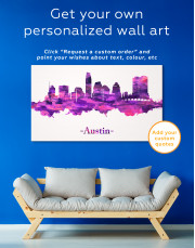 Purple Panoramic Austin Silhouette Canvas Wall Art - Image 3
