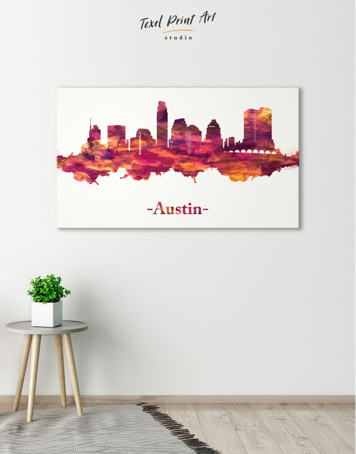 Purple Panoramic Austin Silhouette Canvas Wall Art - Image 4