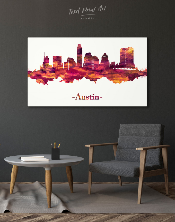 Purple Panoramic Austin Silhouette Canvas Wall Art - Image 6