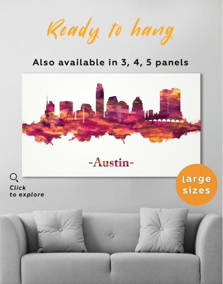 Purple Panoramic Austin Silhouette Canvas Wall Art - Image 7