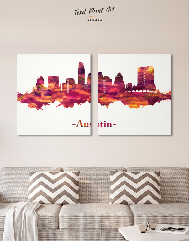 Purple Panoramic Austin Silhouette Canvas Wall Art - Image 9