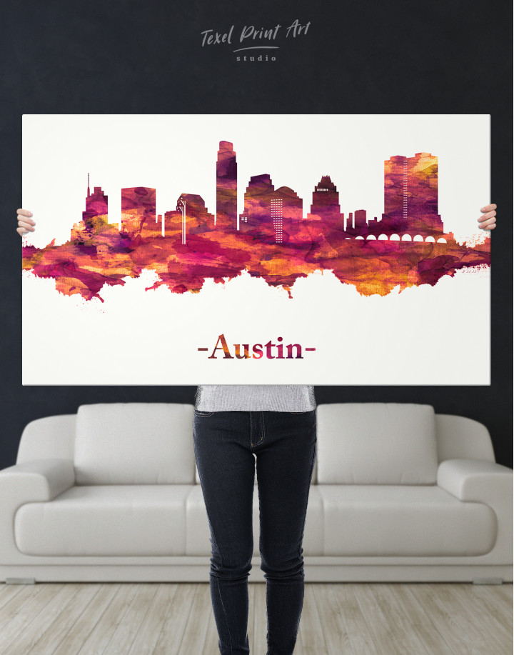 Purple Panoramic Austin Silhouette Canvas Wall Art - Image 1