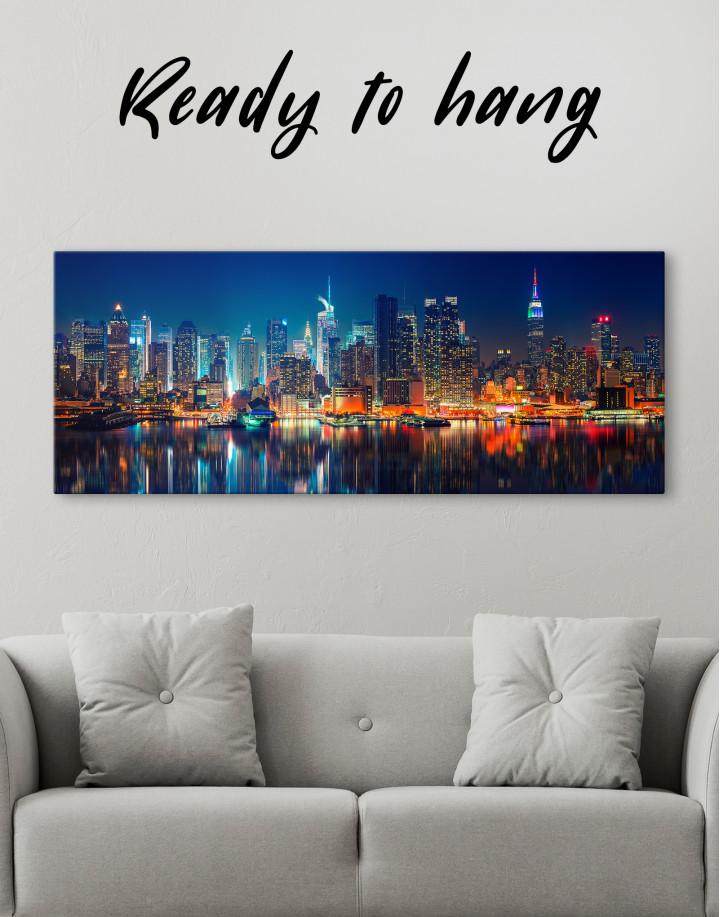 Panorama Manhattan Cityscape View Canvas Wall Art