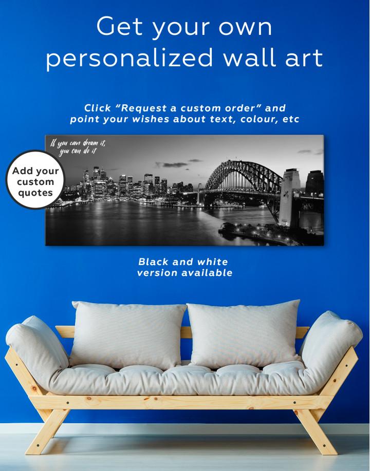 Night Panorama Sydney Skyline Canvas Wall Art - Image 3