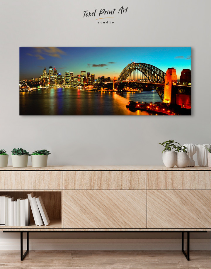 Night Panorama Sydney Skyline Canvas Wall Art - Image 2