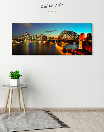 Night Panorama Sydney Skyline Canvas Wall Art - image 1