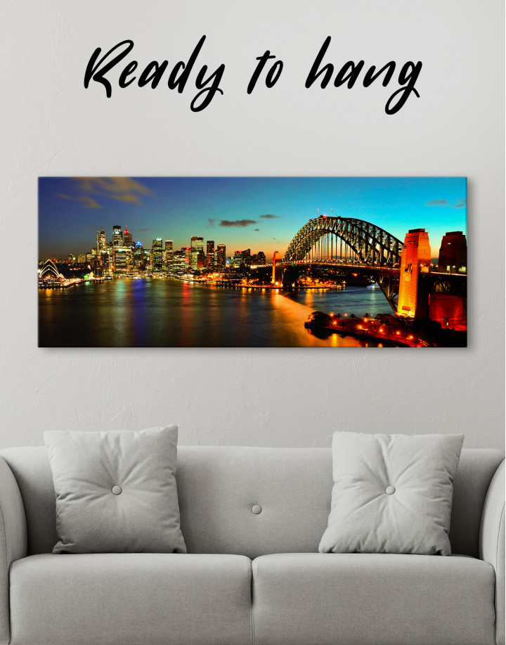 Night Panorama Sydney Skyline Canvas Wall Art