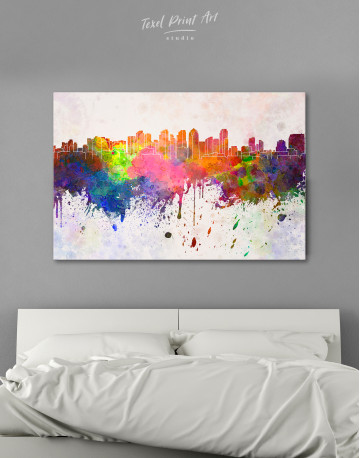 Multicolor Abstract City Silhouette Canvas Wall Art