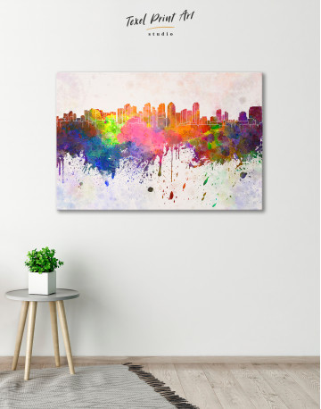 Multicolor Abstract City Silhouette Canvas Wall Art - image 5