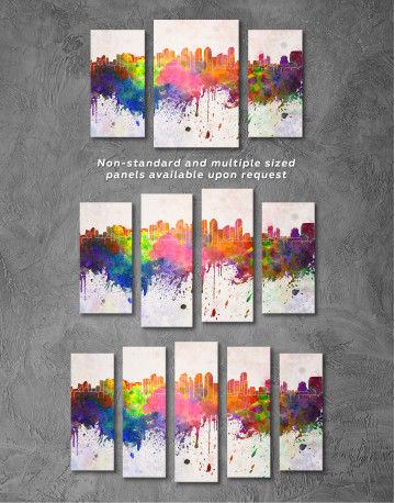 Multicolor Abstract City Silhouette Canvas Wall Art - image 6