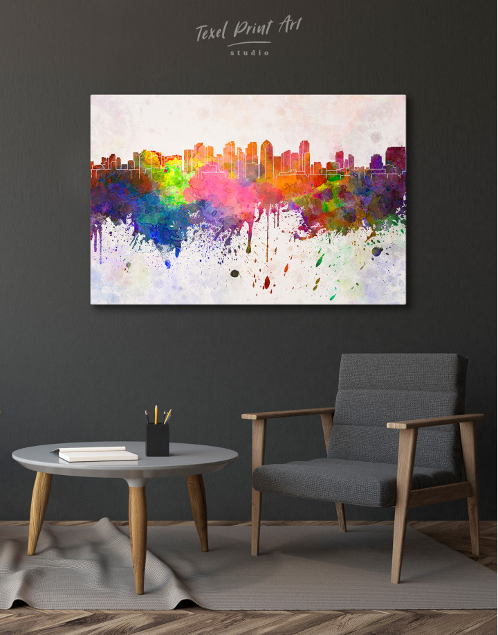 Multicolor Abstract City Silhouette Canvas Wall Art - Image 7
