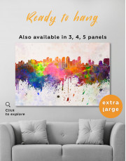Multicolor Abstract City Silhouette Canvas Wall Art - Image 8