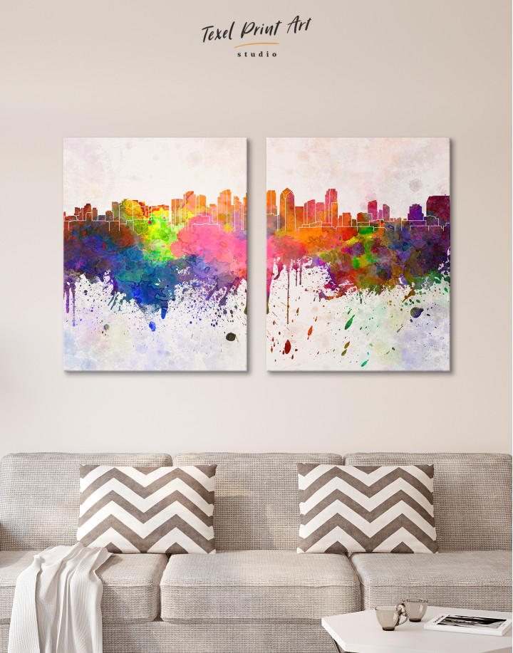 Multicolor Abstract City Silhouette Canvas Wall Art - Image 2