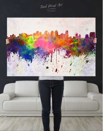 Multicolor Abstract City Silhouette Canvas Wall Art - image 3