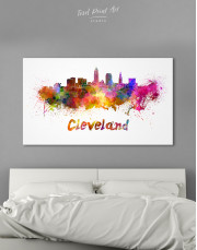 Multicolor Cleveland Silhouette Canvas Wall Art