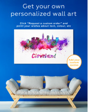 Multicolor Cleveland Silhouette Canvas Wall Art - Image 6