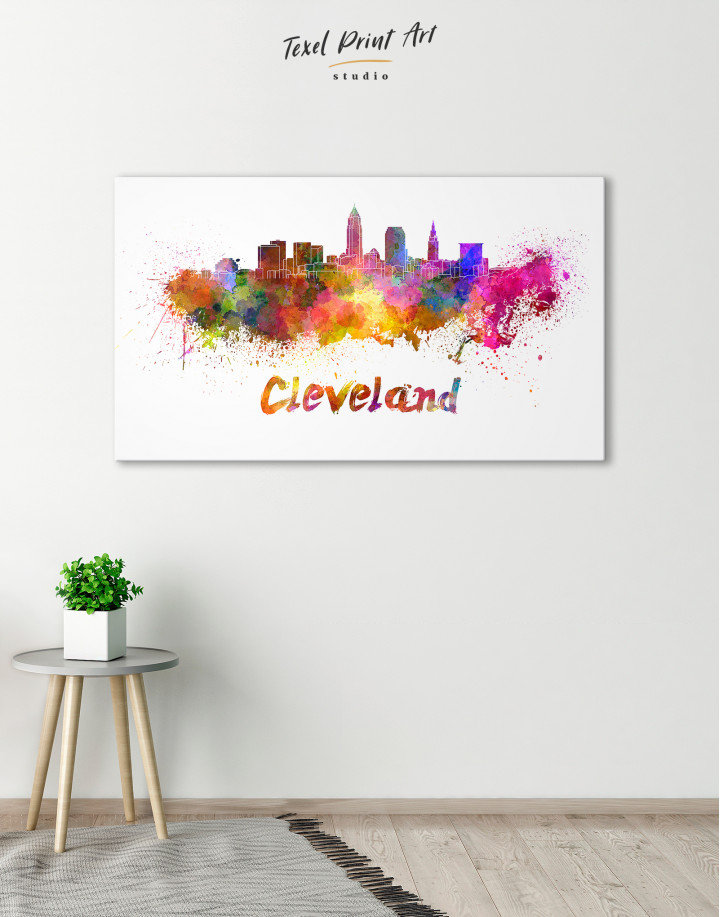 Multicolor Cleveland Silhouette Canvas Wall Art - Image 5