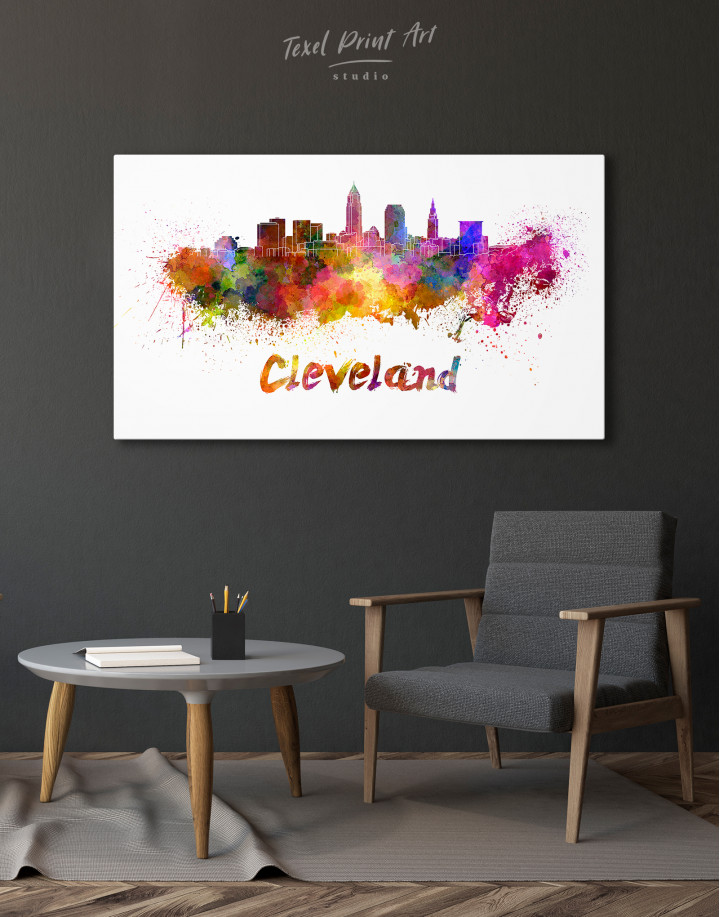 Multicolor Cleveland Silhouette Canvas Wall Art - Image 3