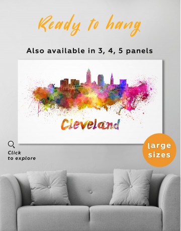 Multicolor Cleveland Silhouette Canvas Wall Art - image 2