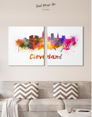 Multicolor Cleveland Silhouette Canvas Wall Art - Image 7