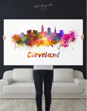 Multicolor Cleveland Silhouette Canvas Wall Art - image 8