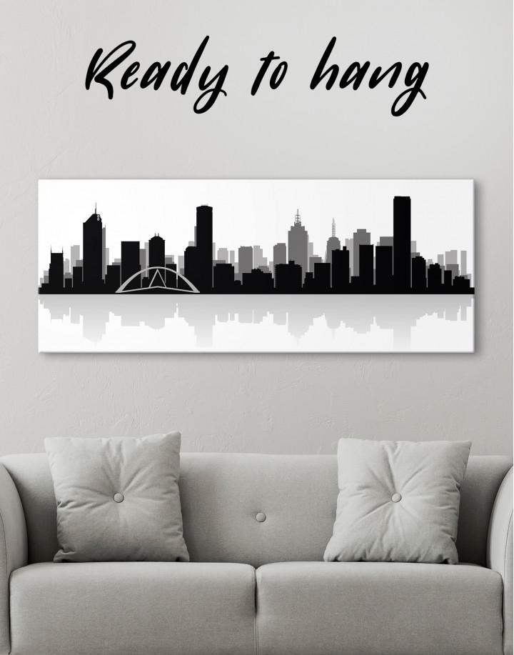 Panoramic Melbourne City Skyline Canvas Wall Art