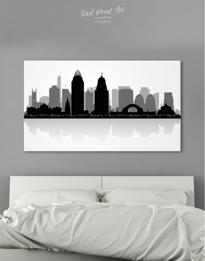 Silhouette Cincinnati Skyline Canvas Wall Art