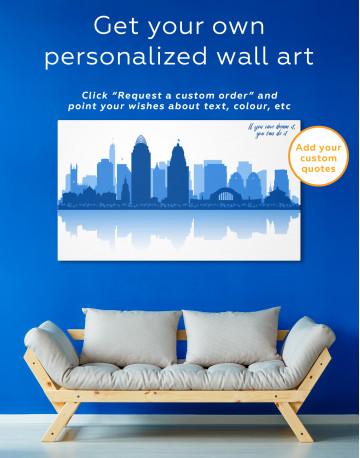 Silhouette Cincinnati Skyline Canvas Wall Art - image 3