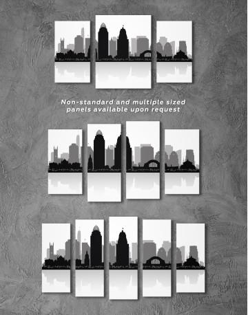 Silhouette Cincinnati Skyline Canvas Wall Art - image 5