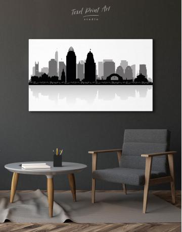 Silhouette Cincinnati Skyline Canvas Wall Art - image 6