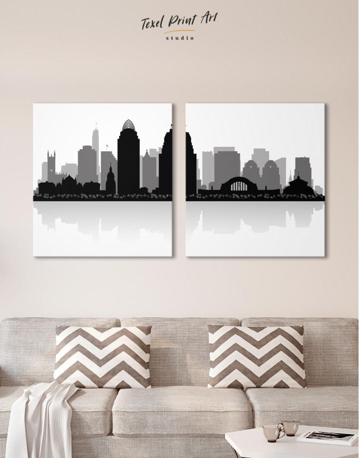 Silhouette Cincinnati Skyline Canvas Wall Art - Image 9