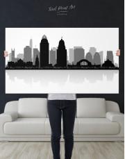 Silhouette Cincinnati Skyline Canvas Wall Art - Image 1