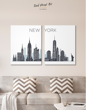 New York City Silhouette Canvas Wall Art - image 1
