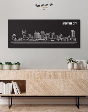 Panoramic Nashville City Silhouette Canvas Wall Art - image 1