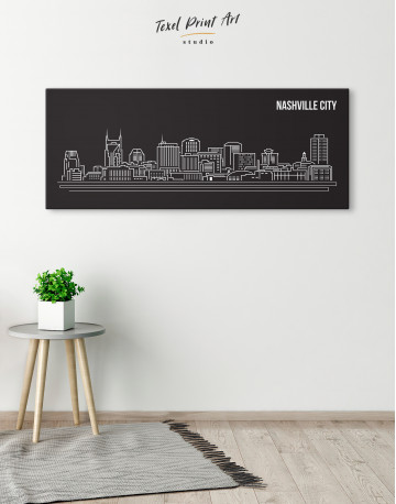 Panoramic Nashville City Silhouette Canvas Wall Art - image 4