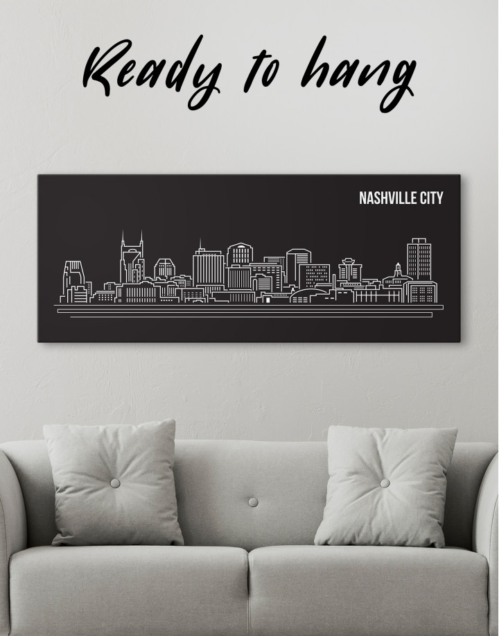 Panoramic Nashville City Silhouette Canvas Wall Art