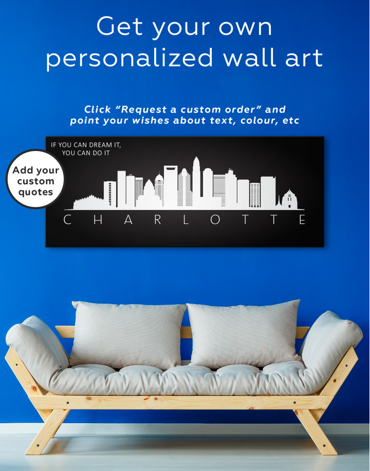 Panoramic Charlotte Silhouette Canvas Wall Art - Image 3