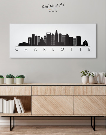 Panoramic Charlotte Silhouette Canvas Wall Art - image 2