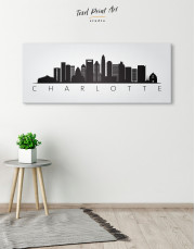 Panoramic Charlotte Silhouette Canvas Wall Art - Image 1