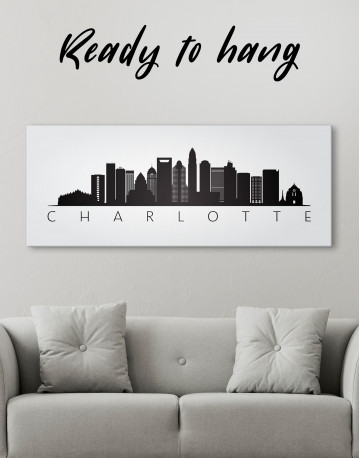 Panoramic Charlotte Silhouette Canvas Wall Art