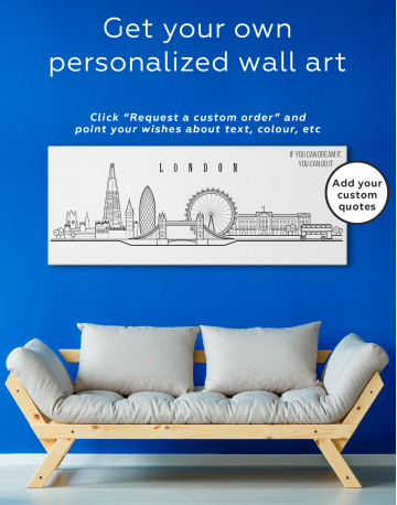 London Panoramic Silhouette Canvas Wall Art - image 3