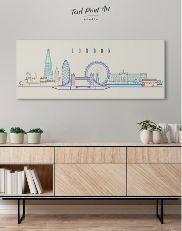 London Panoramic Silhouette Canvas Wall Art - image 2