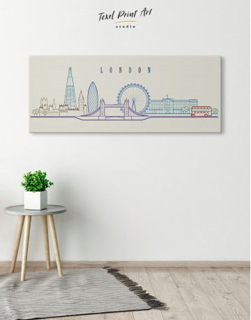 London Panoramic Silhouette Canvas Wall Art - image 1