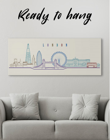 London Panoramic Silhouette Canvas Wall Art