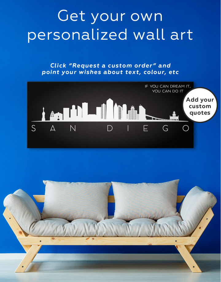 Panoramic San Diego Silhouette Canvas Wall Art - Image 3