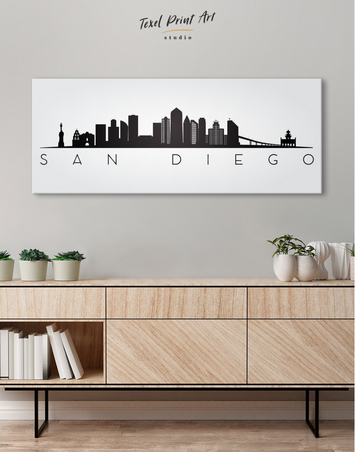 Panoramic San Diego Silhouette Canvas Wall Art - Image 2