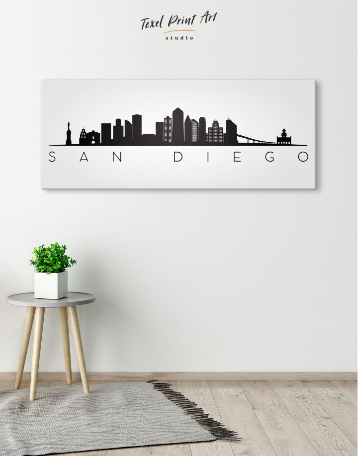 Panoramic San Diego Silhouette Canvas Wall Art - Image 1