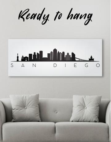 Panoramic San Diego Silhouette Canvas Wall Art